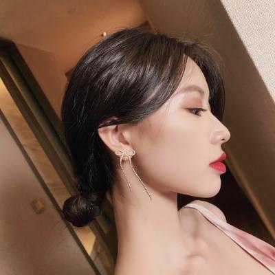 梨花HaNA 韓國夢裡的音符蝴蝶結水鑽流蘇耳環