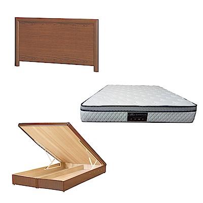 綠活居 羅多6尺雙人加大床台三式組合(床頭片+後掀床底+正三線防蹣獨立筒)五色可選