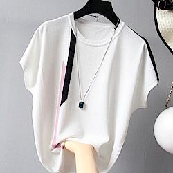 初色  條紋寬鬆短袖上衣-共3色-(F可選)