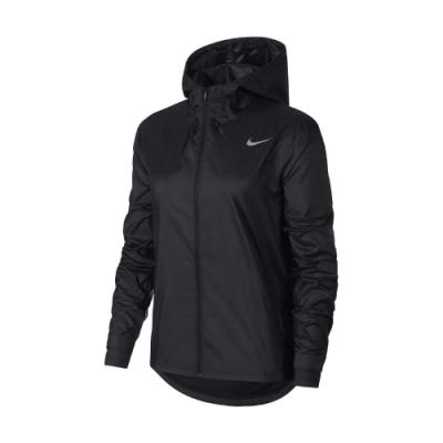 Nike 外套 ESS Running JKT 女款 運動休閒 連帽外套 防風 風衣外套 黑 銀 CU3218010