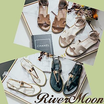 [時時樂限定]River&Moon時尚韓版線條涼鞋(36碼-44碼)
