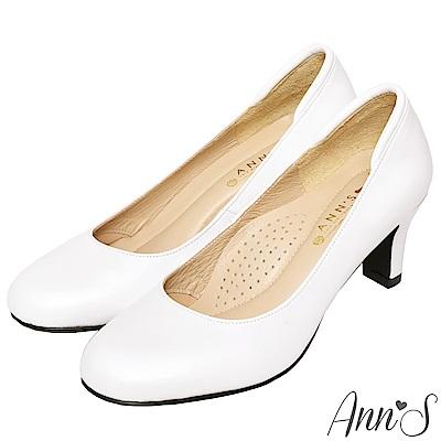 Ann'S空姐美腿款全真羊皮中跟包鞋-白