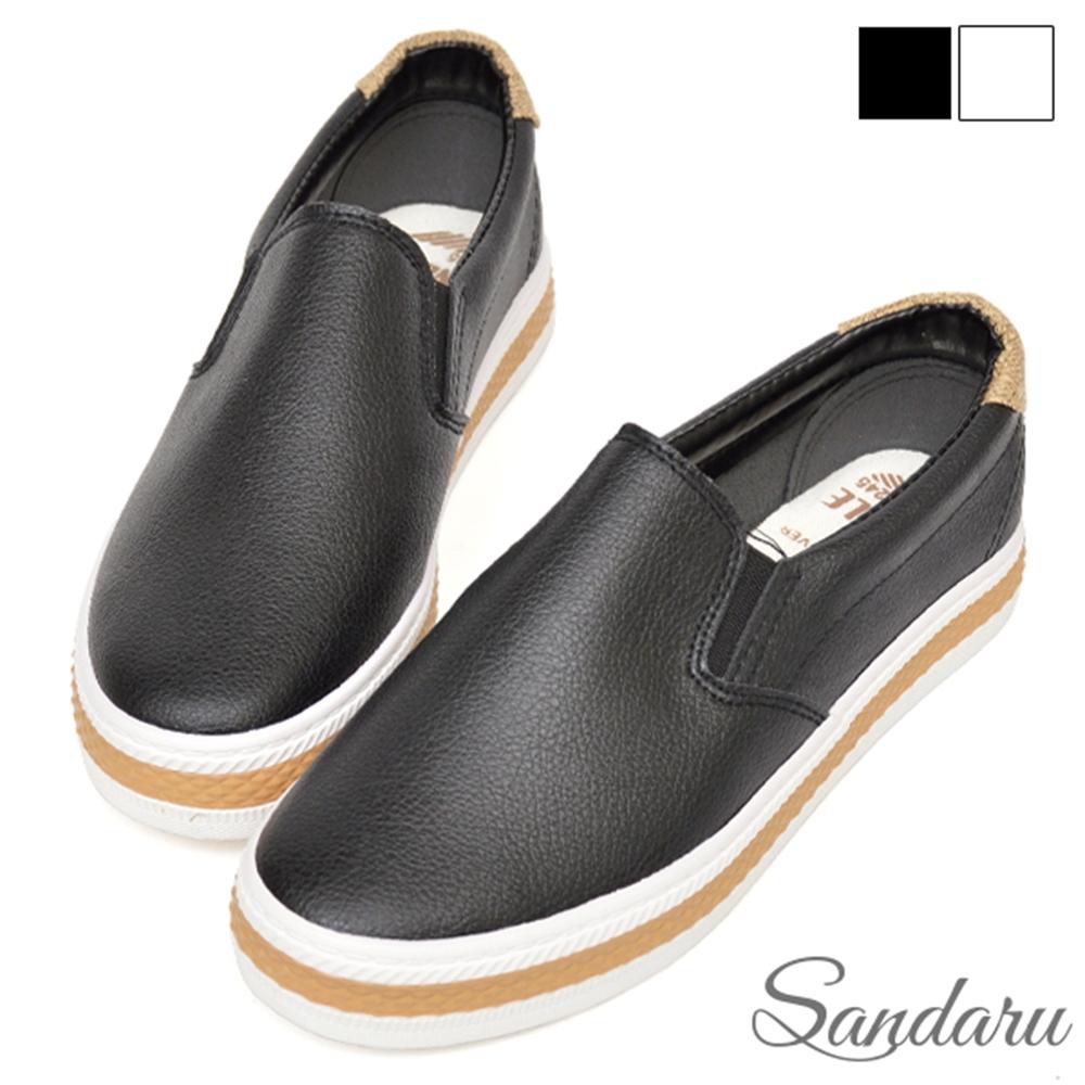 山打努SANDARU-防磨腳小白鞋 簡約拼色休閒鞋-黑 (黑)