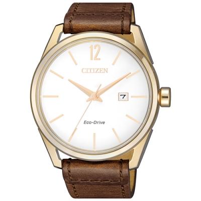 CITIZEN星辰 光動能簡約都會紳士時尚男錶(BM7418-17A)-白x咖啡/42mm
