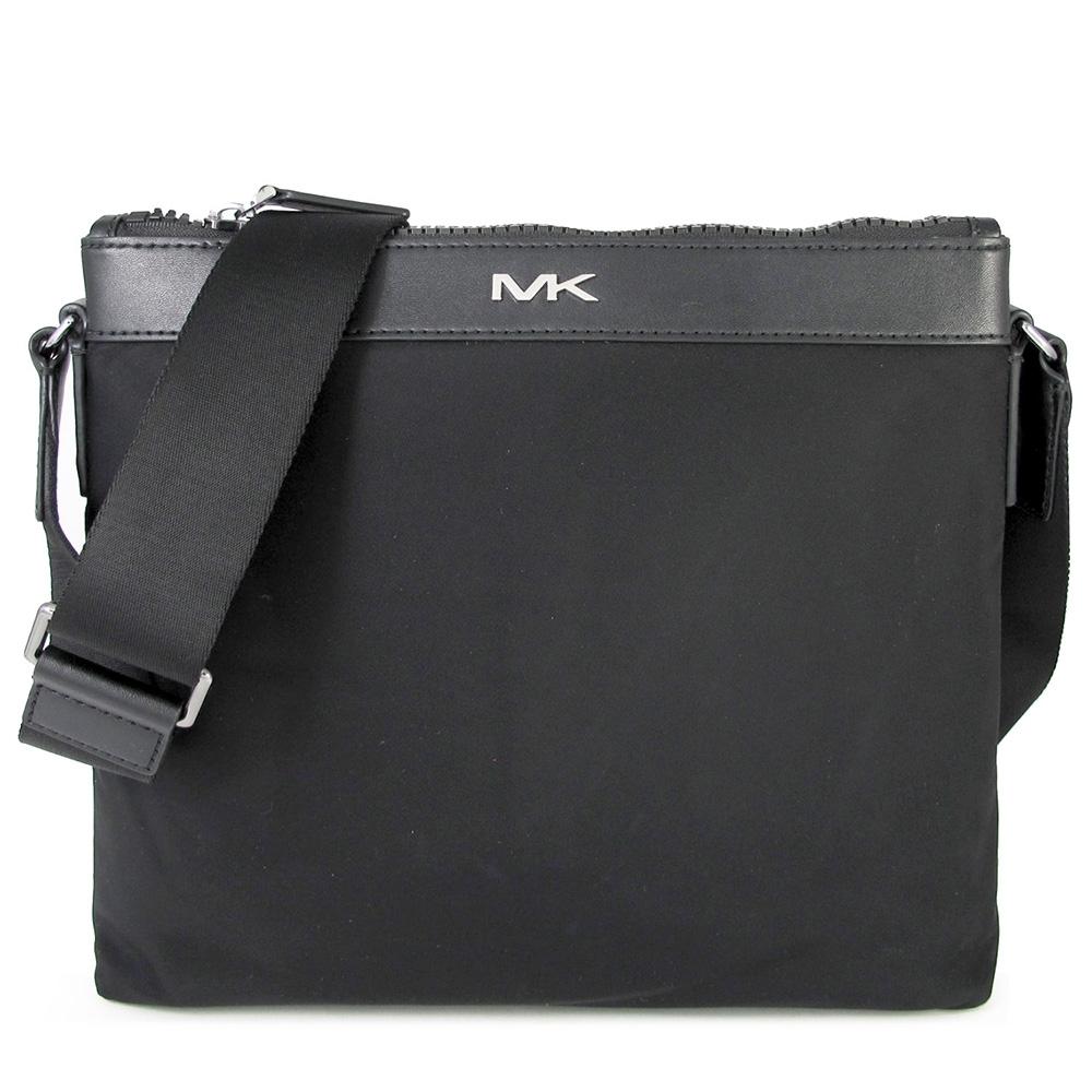 MICHAEL KORS KENT 大MK Logo防潑水尼龍拉鍊斜背包(黑色)