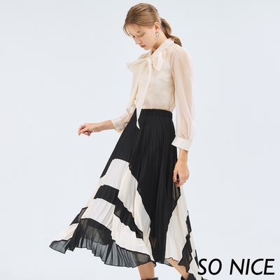 SO NICE優雅配色拼接壓褶雪紡裙