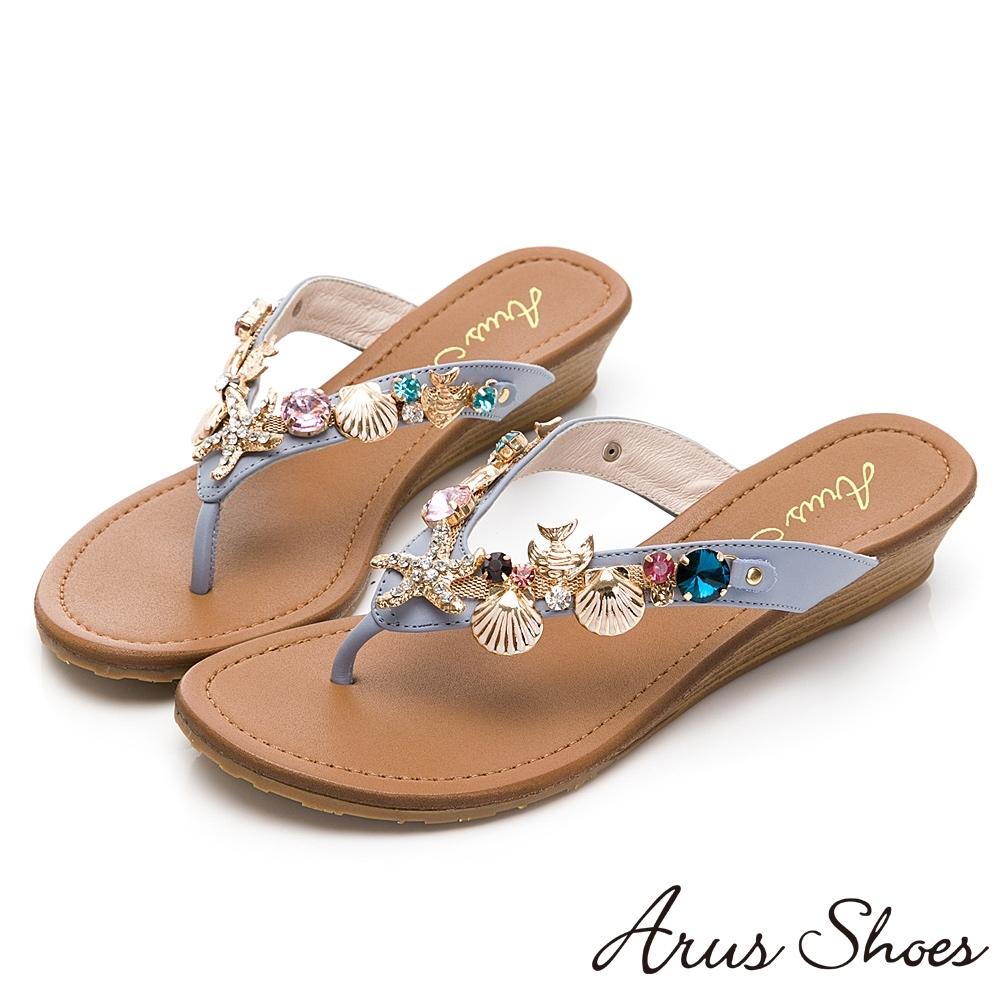 GDC-夏日海灘風水鑽貝殼真皮閃爍夾腳拖鞋-藍色