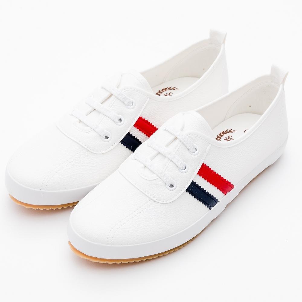 River&Moon小白鞋-韓版線條繫帶皮質休閒鞋 藍