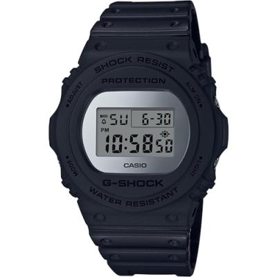 G-SHOCK 強悍霧面磨砂風格設計運動腕錶-銀(DW-5700BBMA-1)/48.9m