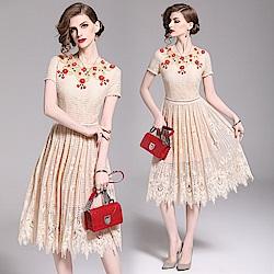 修身顯瘦繡花蕾絲洋裝洋裝S-2XL-M2M