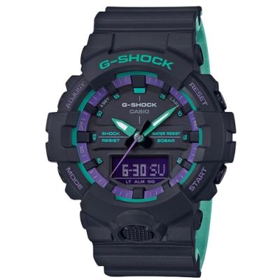 CASIO卡西歐G-SHOCK系列 復古手錶(GA-800BL-1A)-藍綠/48.6mm