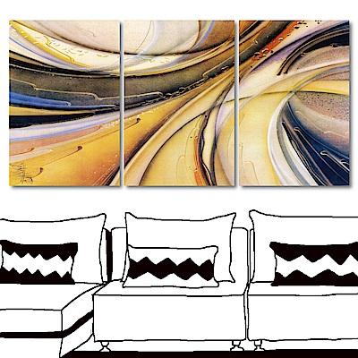 橙品油畫布 三聯式掛畫無框畫-穿梭40x60cm