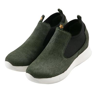 BESO 個性馬毛 街頭時髦內增高休閒鞋~綠