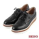 BESO 英式風範 方楦雕花綁帶牛津鞋~黑