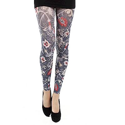 摩達客 英國進口義大利製Pamela Mann 中古世紀復古花紋九分褲襪無足襪