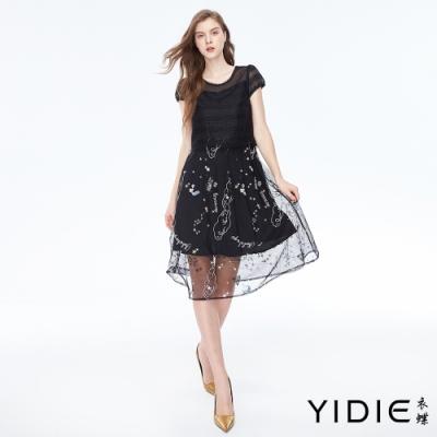 YIDIE衣蝶 繽紛童趣刺繡網紗罩衫假兩件長洋裝