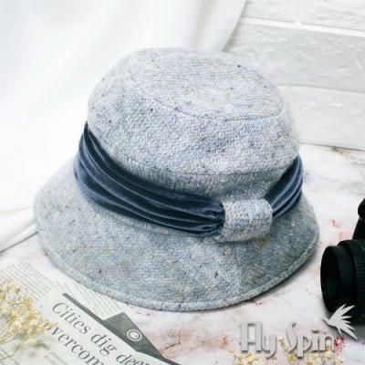 FLYSPIN秋冬防寒保暖絨帶飾針織定型淑女盆帽