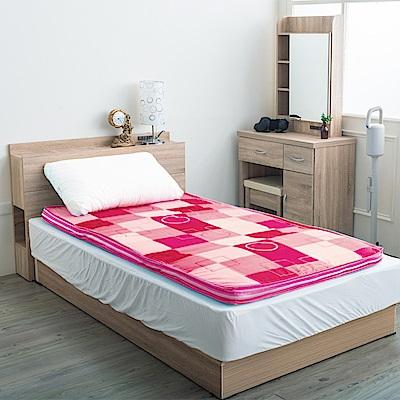 戀戀鄉 (單人3尺)歐式英格蘭風格格紋冬夏兩用床墊-粉紅格紋