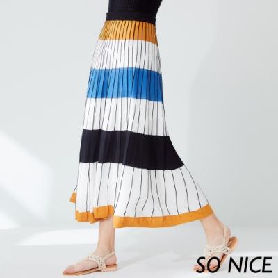 SO NICE俏麗線條撞色針織長裙