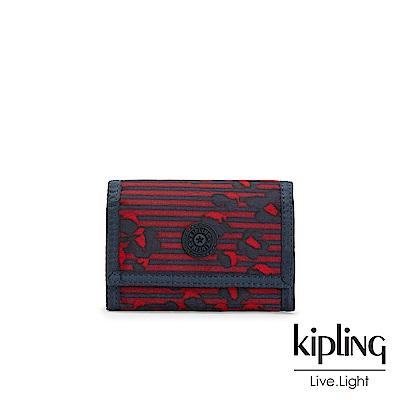 Kipling 高雅紅花條紋多夾層短夾-MICKYLINA