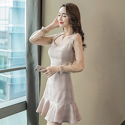 DABI 韓國風網紗拼接荷葉邊性感氣質長袖洋裝