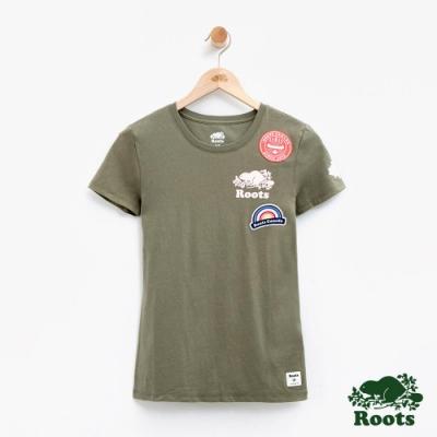 女裝Roots 貼布短袖T恤-綠