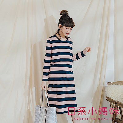 日系小媽咪孕婦裝-正韓哺乳衣~舒適百搭寬條紋上掀側開洋裝