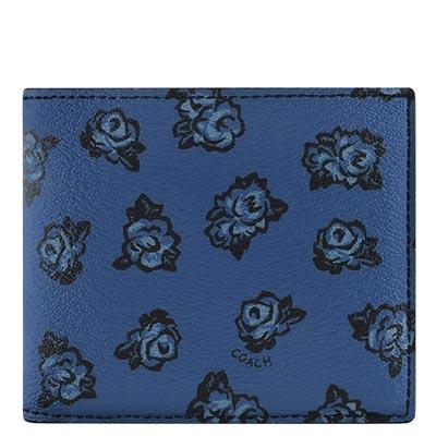 COACH 深藍色花朵圖樣PVC雙摺十二卡短夾