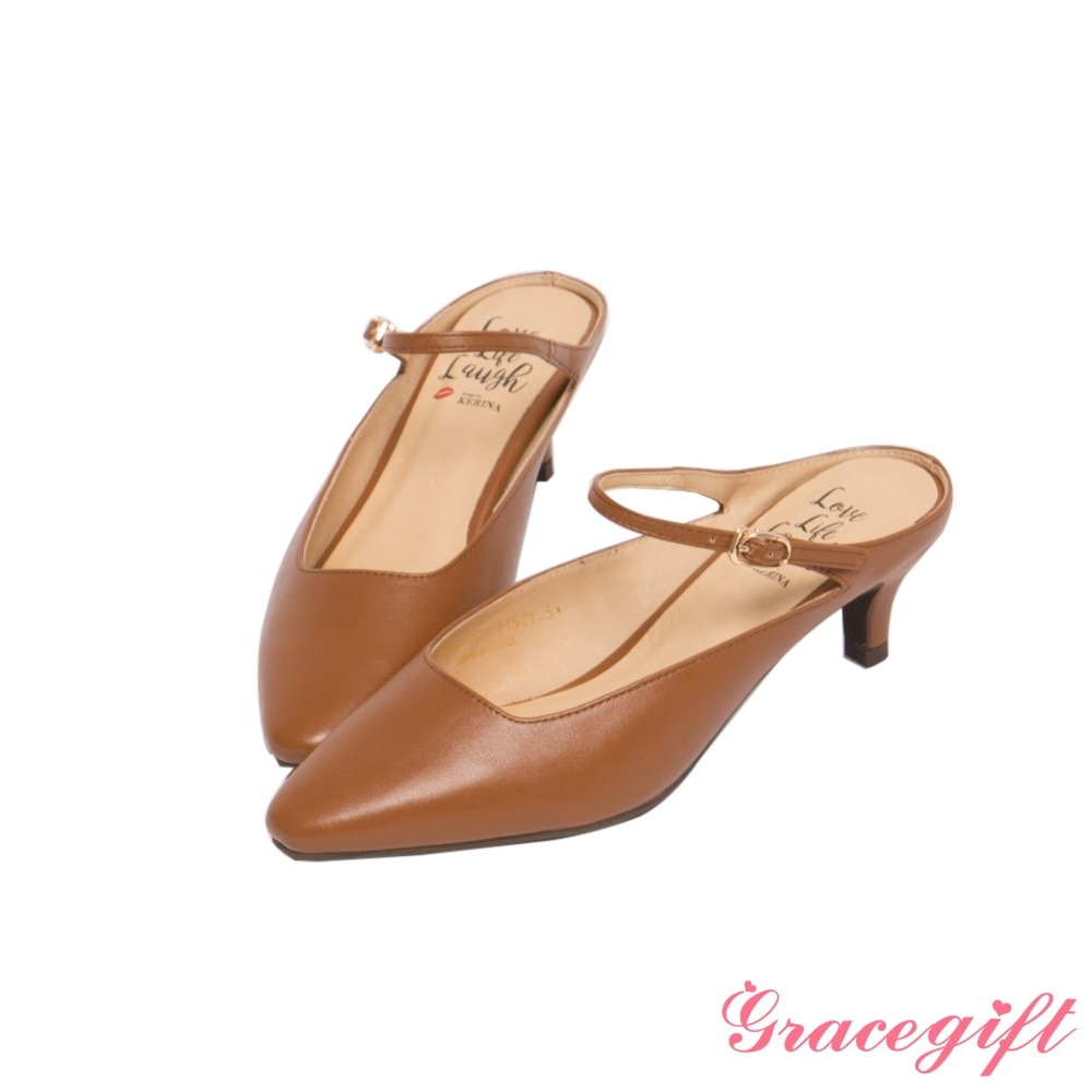 Grace gift X Kerina-聯名後空繫帶中跟穆勒鞋 棕
