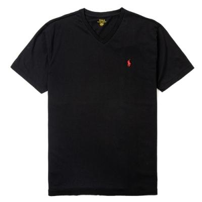 Polo Ralph Lauren 經典刺繡小馬V字領素面短袖T恤-黑色