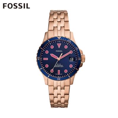 FOSSIL FB-01 個性時尚三針鍊帶女錶-藍色 36MM ES4767