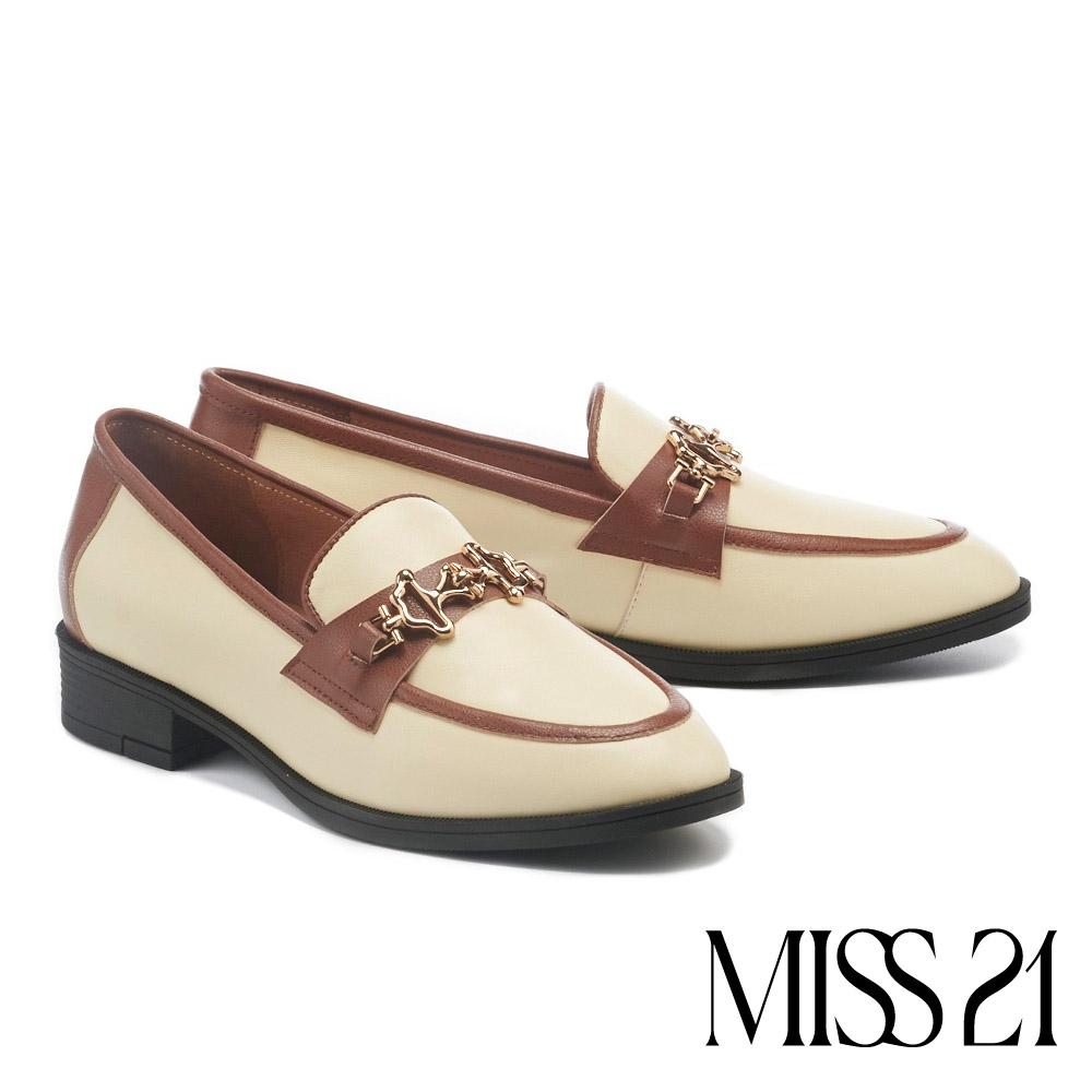 低跟鞋 MISS 21 復古不規則造型金屬撞色樂福低跟鞋-奶白