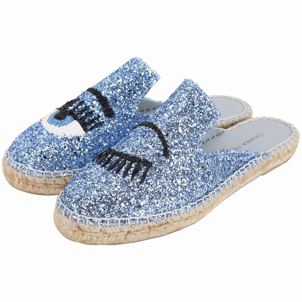 Chiara Ferragni Flirting 塑繩刺繡眨眼草編穆勒鞋(藍色)