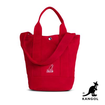 KANGOL 韓版玩色-帆布手提/斜背釦式小型水桶包-棗紅 AKG1217