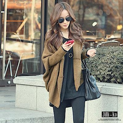 Jilli-ko 韓版蝙蝠袖針織外套-咖