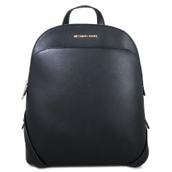 MICHAEL KORS Emmy 金字Logo全皮革雙肩後背包(黑色)