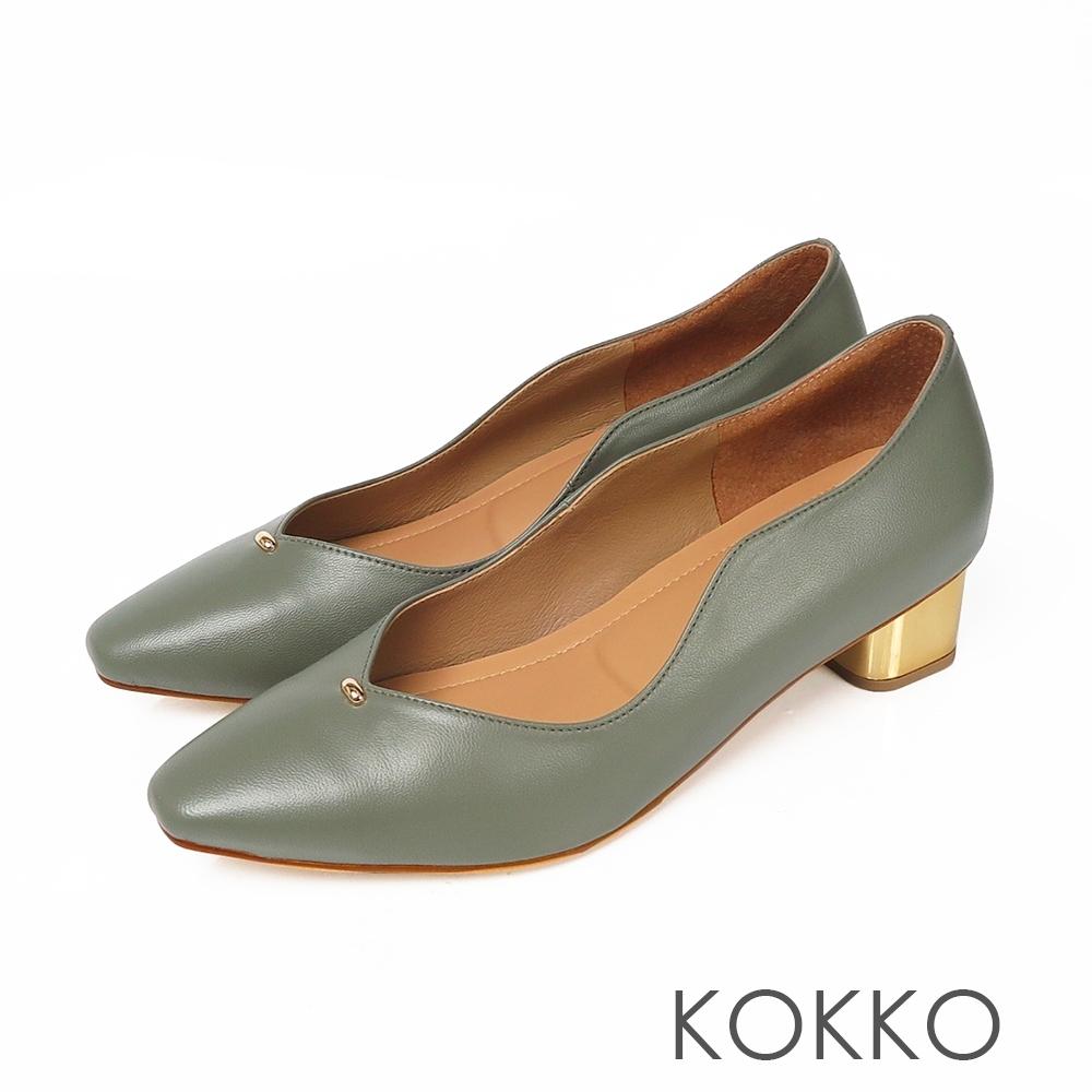 KOKKO - 摩登印象小方頭V口軟底低跟鞋-抹茶綠