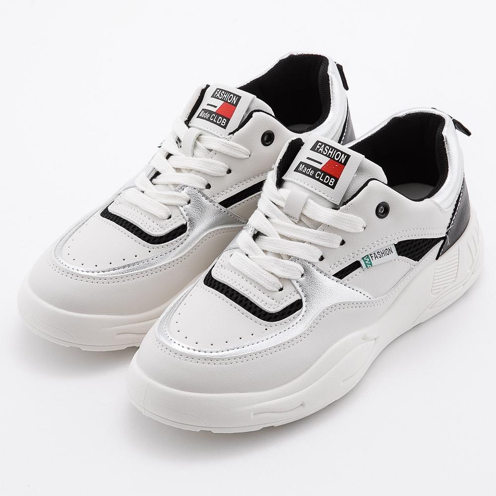 River&Moon復古線條網布老爹鞋厚底小白鞋 黑系