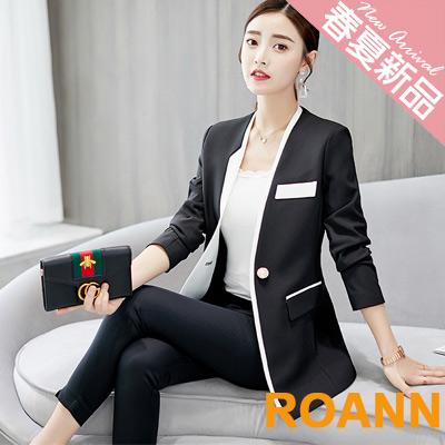 OL風拼接小口袋西裝外套 (黑色)-ROANN