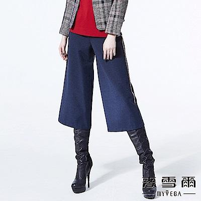 【麥雪爾】質感單扣側邊織帶休閒寬褲