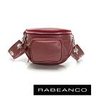 RABEANCO INA牛皮T型鏈條寬背帶斜背/腰包(小) 棗紅