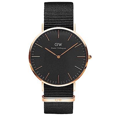 DW手錶 官方旗艦店 40mm玫瑰金框 Classic Black 寂靜黑尼龍帆布手錶