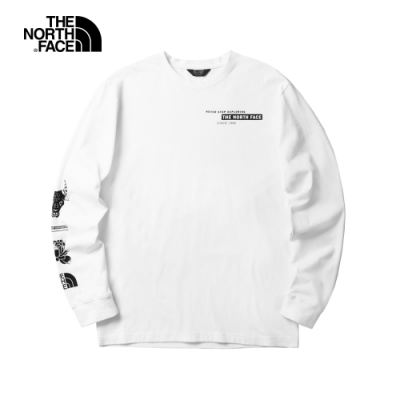 The North Face北面男女款白色長袖T恤|4UDLFN4