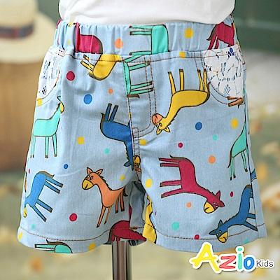 Azio Kids 短褲 彩色點點小馬蕾絲假口袋短褲(藍)
