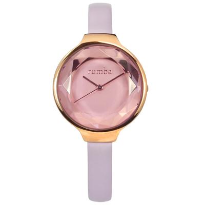 rumba time 紐約品牌 切割玻璃鏡面 真皮手錶-紫x玫瑰金框/30mm