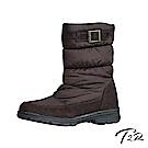 【T2R】環扣設計內增高溫暖內鋪毛中筒靴-咖-增高6cm