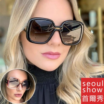seoul show首爾秀 歐美時尚大方框鏤空鏡腿太陽眼鏡UV400墨鏡 97030