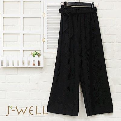 J-WELL 雙色粗針感寬腰帶九分寬褲(三色)