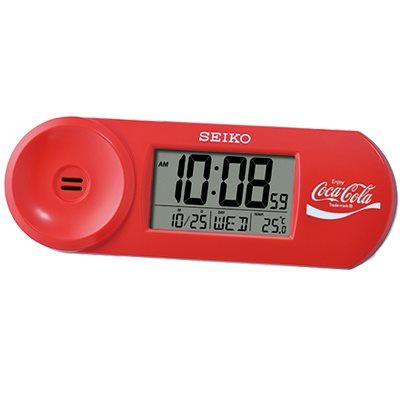 SEIKO 可口可樂聯名 鬧鐘 溫度/日曆 電子鐘(QHL902R)紅/14.4X5cm