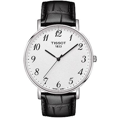 TISSOT 天梭 Everytime 雋永明朗大三針腕錶-銀x黑/42mm